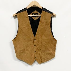 Scully | Tan Leather Satin Colorblock Vest M